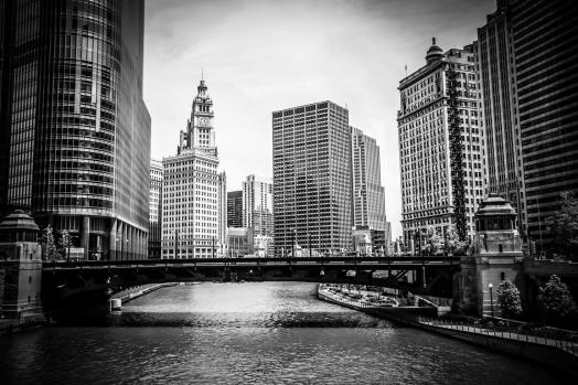 Chicago River Skyline in Black and White