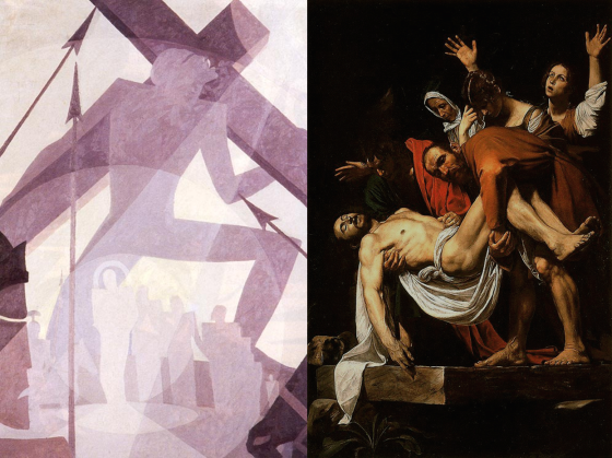 The Crucifixion by Aaron Douglas and The Deposition of Christ by Caravaggio