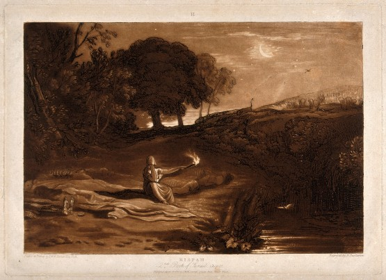Rizpah keeps watch in the tranquil night over the decaying bodies of her sons - painting by Joseph Turner
